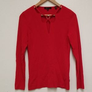 BCBG Maxazria Sweater Red Cut Out Front Sz M